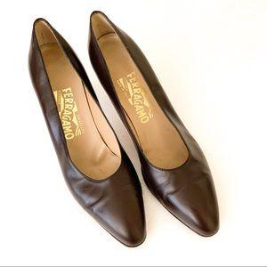 Salvatore Ferragamo Vintage Brown Leather Heels